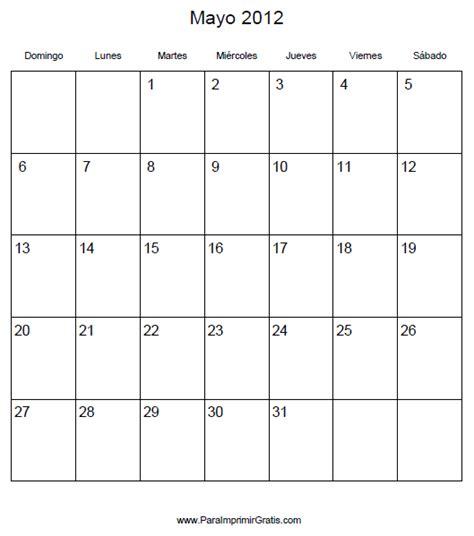 Calendario Mes De Mayo Calendario Mayo 2012 Para Imprimir Gratis