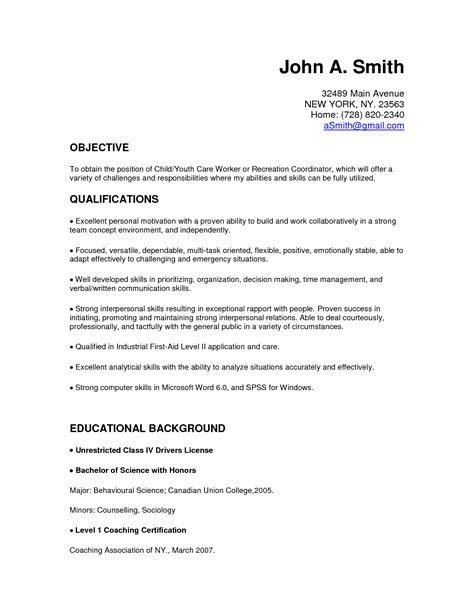 skills for cover letter child care resume objective exles child care resume