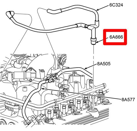1999 ford f150 vacuum diagram 1999 5 4l v8 quot heated quot pcv hose assembly w 3 4 quot grommet