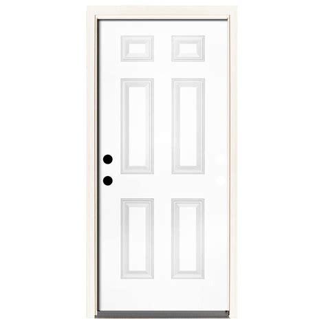 Exterior Door 6 Inch Jamb Steves Sons 32 In X 80 In Premium 2 Panel Plank Primed White Steel Prehung Front Door With