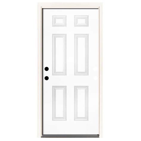 Steves & Sons 32 in. x 80 in. Premium 2 Panel Plank Primed White Steel Prehung Front Door with