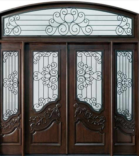 Wrought Iron Exterior Door Exterior Wood Doors With Wrought Iron Interior Home Decor