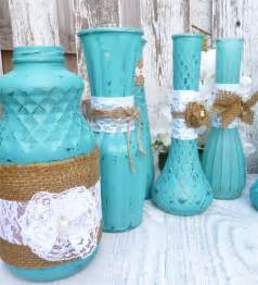 Shabby Chic Vases Wedding by Turquoise Rustic Shabby Chic Vases With Burlap By