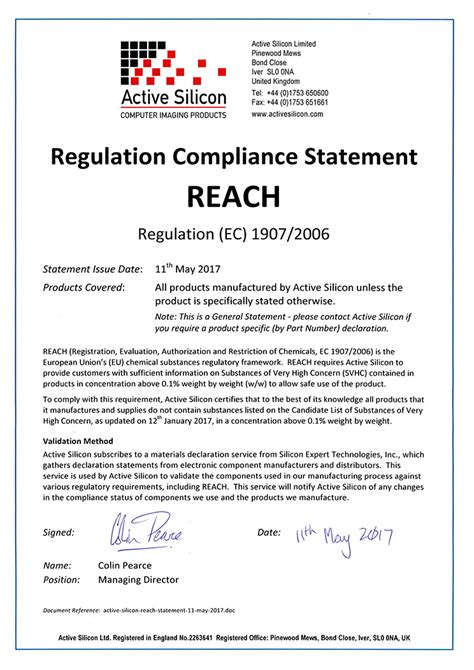 reach declaration template active silicon certifications
