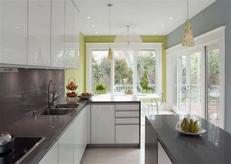 Accent Color For White And Gray Kitchen by Modern White And Grey Kitchen Design With Green Accent