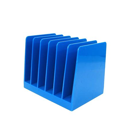 File Desk Organizer Vintage File Holder Blue Plastic Desk Organizer