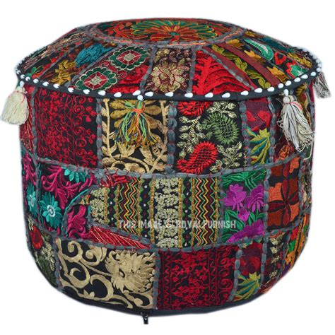 indian pouf ottoman black round indian traditional ottoman seating pouf foot