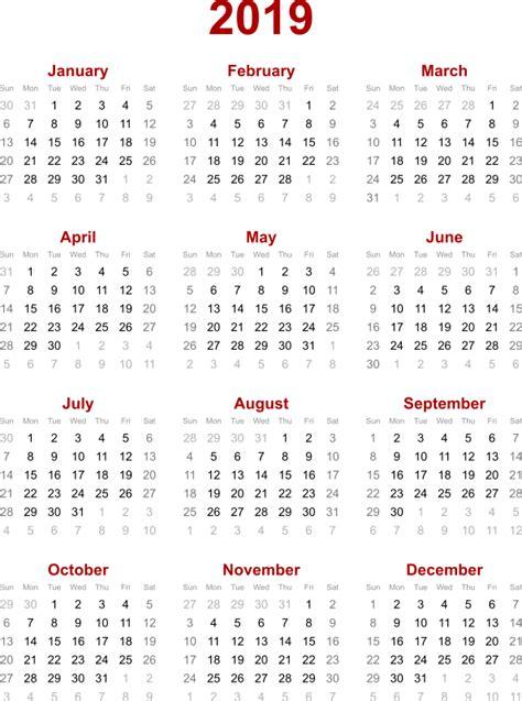 Calendar For 2019 Clipart 2019 Calendar