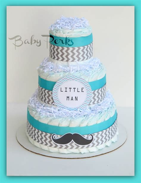 Baby Shower Mustache Cake by Mustache Baby Shower Cake
