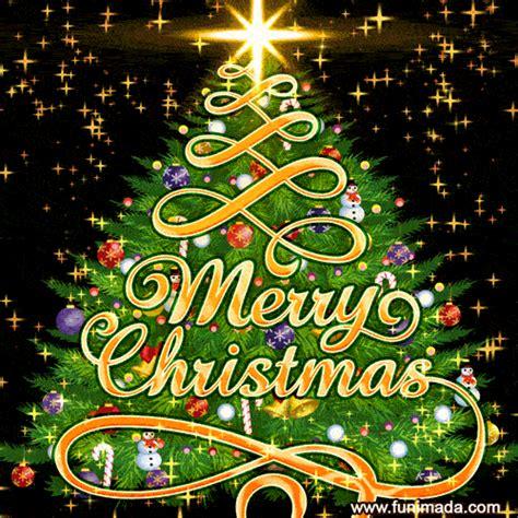 christmas tree  animated star dust merry christmas gif card   funimadacom