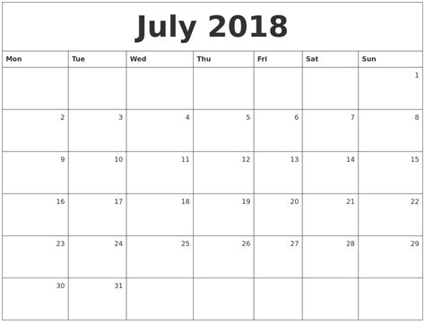 Calendar July 2018 July 2018 Monthly Calendar