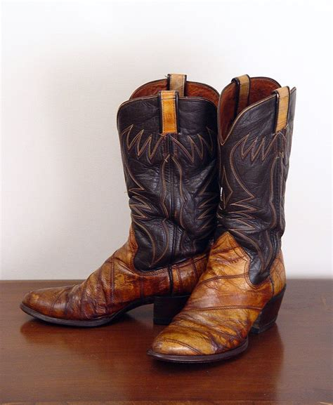 eel skin boots vintage 70 s s embroidered eel skin cowboy boots