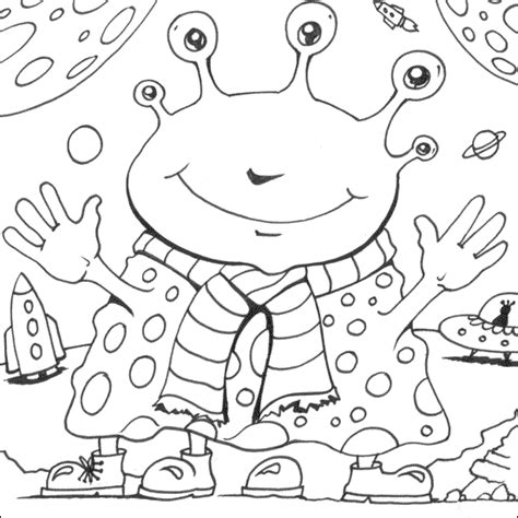 space monster coloring page alien colouring