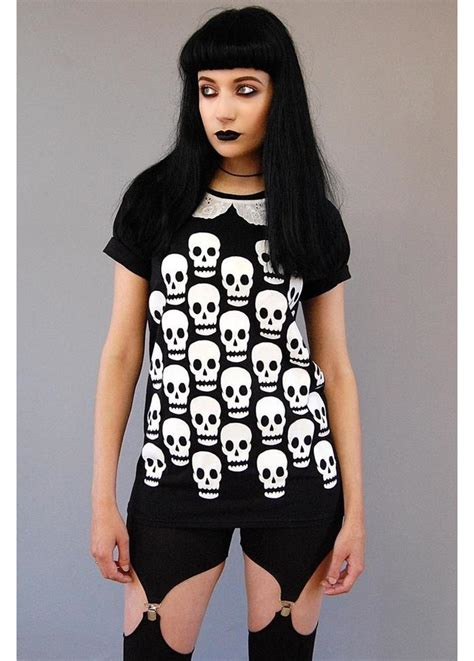 Blouse Skull Trip takes a trip skull scatter collar t shirt attitude clothing