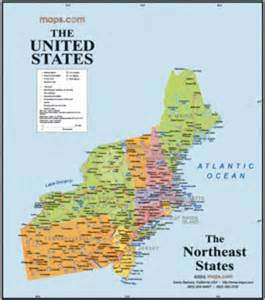 northeast usa wall map maps