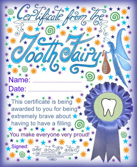 printable card from tooth fairy tooth fairy certificate being brave about having a