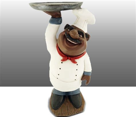 Black Chef Kitchen Decor black chef kitchen statue holding plate table decor