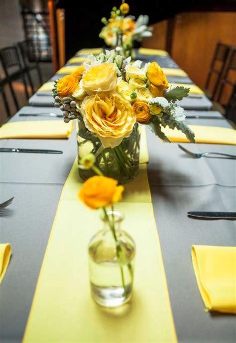 grey wedding centerpieces 36 cheerful grey and yellow wedding ideas weddingomania