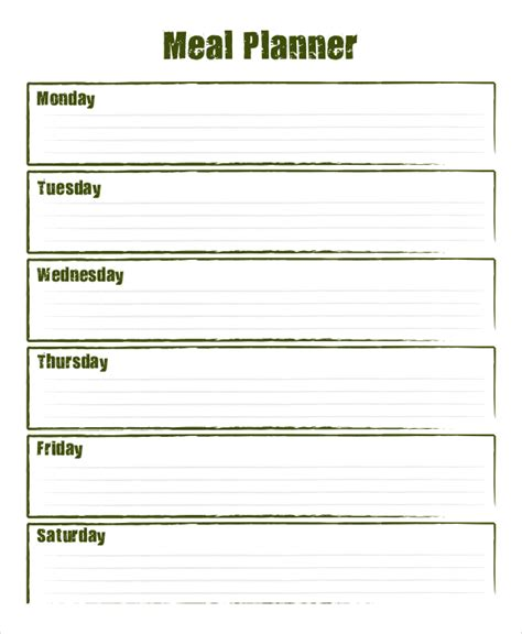 weekly meal planning template weekly meal planner 10 free pdf psd documents