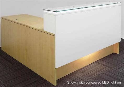 best led desk l emerge glass top l shaped reception desk w drawers led