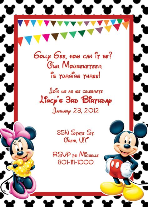 free mickey mouse invitation template mickey mouse free invitation wedding invitation