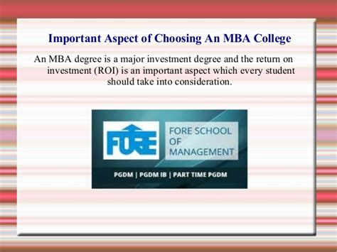 How Valuable Is An Mba by Important Aspect Of Choosing An Mba College