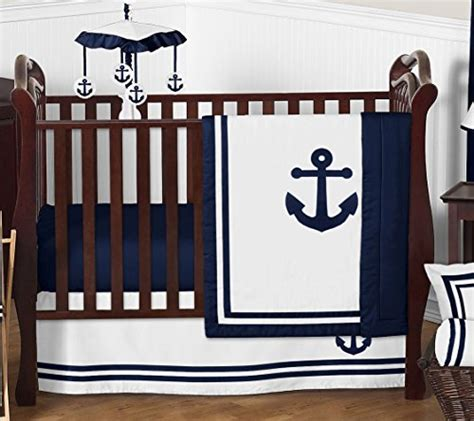 Crib Bedding Without Bumpers by Anchors Away Nautical Navy And White Boys Baby Bedding 4