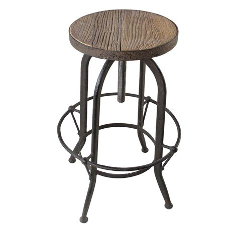 Reclaimed Wood Bar Stool Elemental Reclaimed Wood Industrial Adjustable Counter Bar Stool Kathy Kuo Home