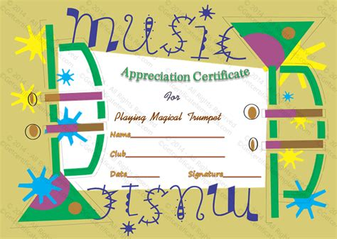 templates for music certificates appreciate music award certificate template
