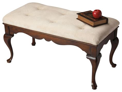 cherry bench butler plantation grace bench traditional upholstered