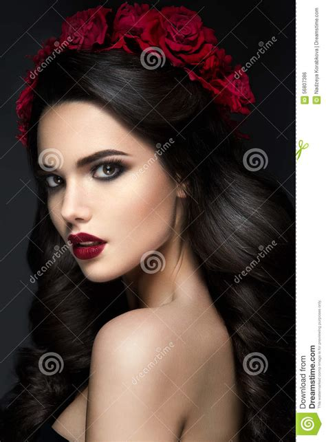 beauty fashion model girl portrait with roses
