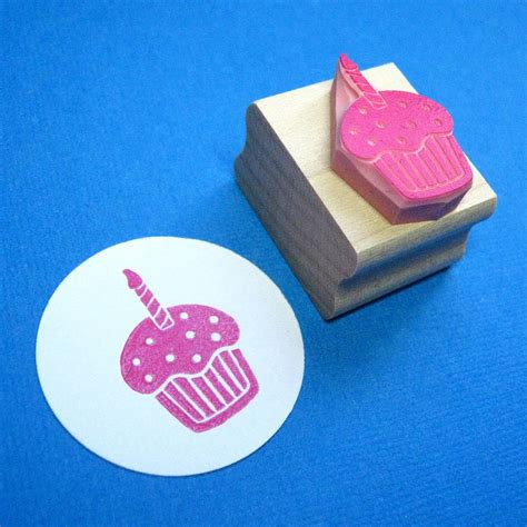 cupcake rubber st birthday cupcake carved rubber st by skull and