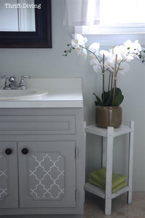 how to paint a bathroom vanity cabinet how to paint a bathroom vanity diy makeover thrift diving blog youtube