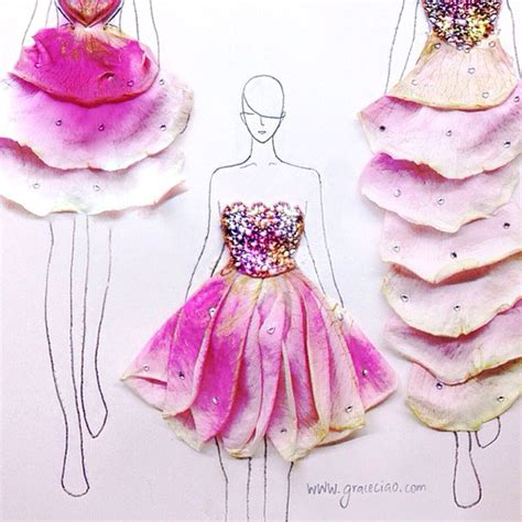 fashion illustration using flowers artist turns real flower petals into fashion design