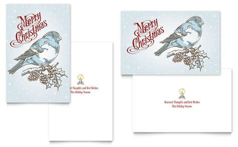 Greeting Card Template Microsoft Word 2010 by Vintage Bird Greeting Card Template Word Publisher