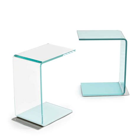 Glass Base Table L by Swan Curved Glass Table Coloured Base Klarity Glass