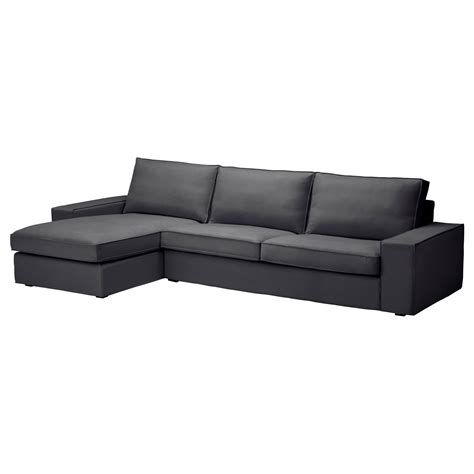 gray couch with chaise kivik sofa and chaise lounge dansbo dark gray sofa