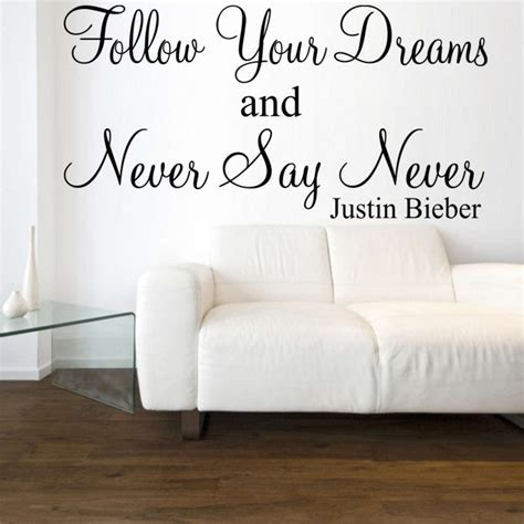 justin bieber wall stickers never say never justin bieber wall sticker quote ebay