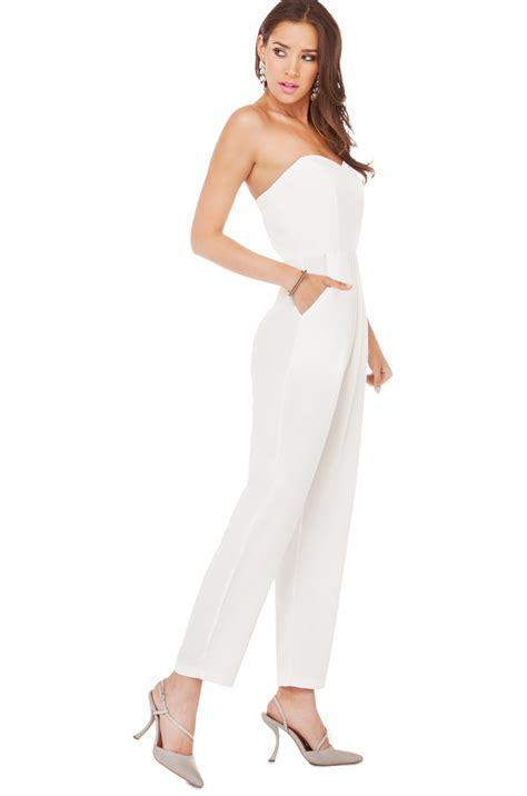 Overall Skirt Leona Dress Jumpsuit With Inner Werpak Jumper strapless pleated jumpsuit in white lyst