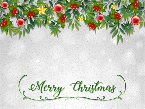 Merry Christmas Card Template With Mistletoes Vector Free Download Merry Card Templates