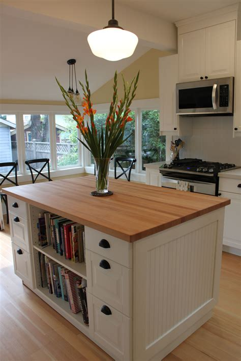 ikea kitchen island  cookbook storage