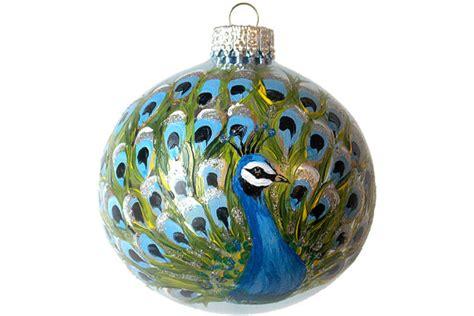 hand painted christmas ornament glass ball peacock bird hand