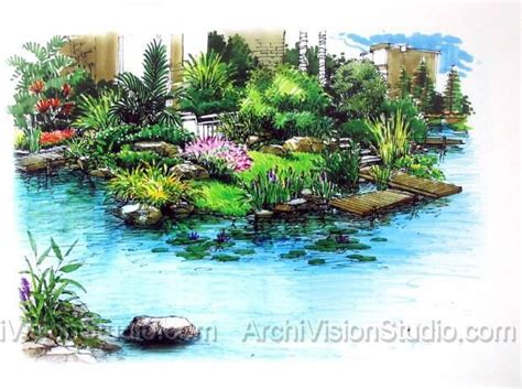 Landscape Design Rendering Waterfall Landscape Design Landscape Rendering Sketches