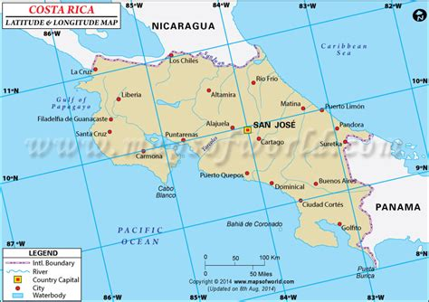 san jose map latitude and longitude costa rica latitude and longitude map