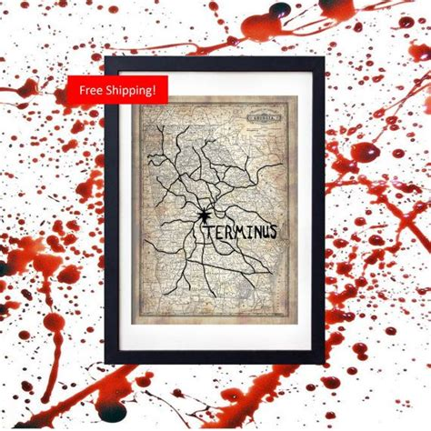 the walking dead terminus replica map prop vintage design