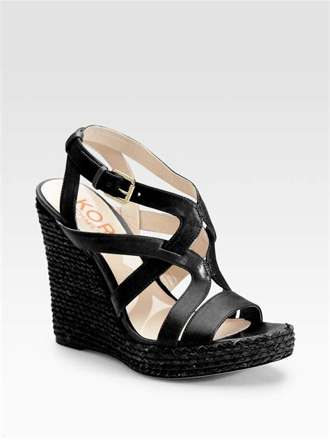strappy wedge sandals kors by michael kors wiley strappy wedge sandals in black