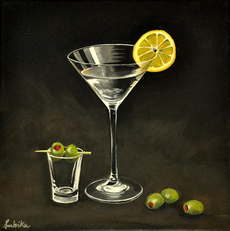martini glass acrylic painting martini and olives by ambika jhunjhunwala