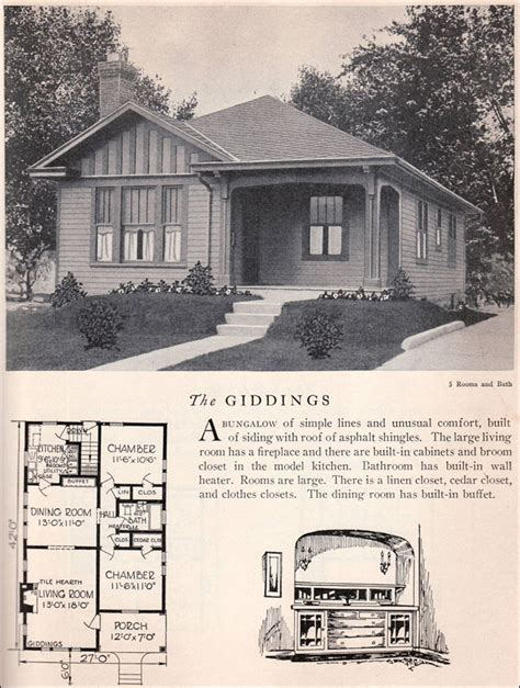 1930s bungalow floor plans 1929 home builders catalog giddings house plan