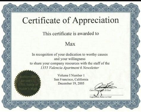 certificate  appreciation certificate template pinterest