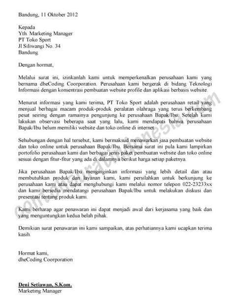 Contoh Surat Permintaan Penawaran Biaya Pengiriman Jasa by Contoh Surat Penawaran Jasa Pembuatan Website Dan Toko